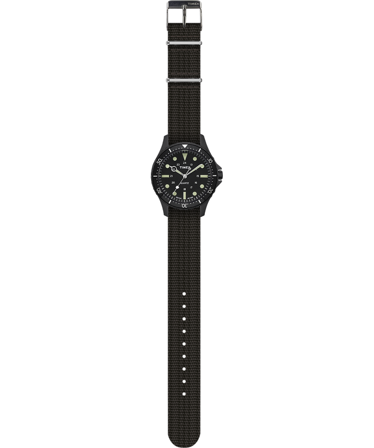 Timex - Timex Navi Harbour 38mm Fabric Strap Watch - Black