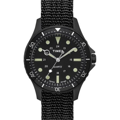 Timex Navi Harbour 38mm Fabric Strap Watch - Black