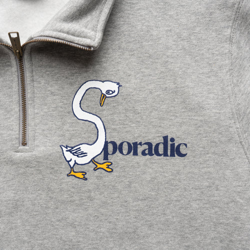 Sporadic - Goose Neck Half Zip Sweat - Heather Grey