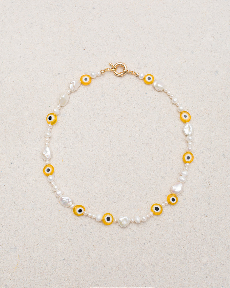 Pearly-Eyed Yellow Necklace