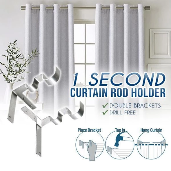 1 Second Curtain Rod Holder(2pcs)🔥Last day promotion