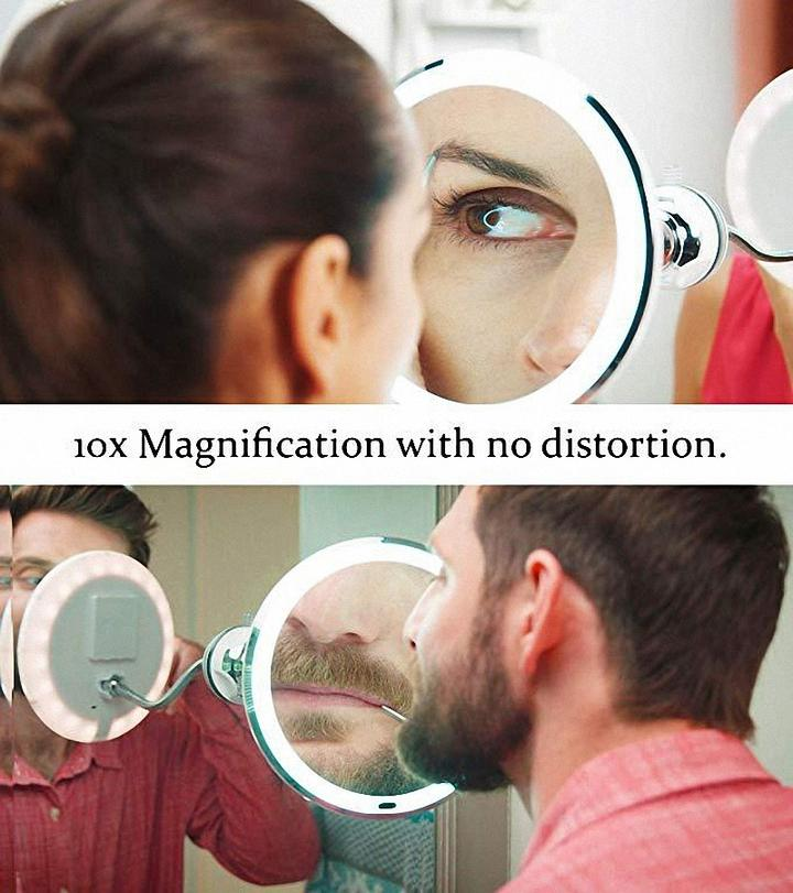 (BUY 2 FREE SHIPPING)Flexible Light Up Mirror 10X magnification 360-Degree Rotating Makeup Mirror