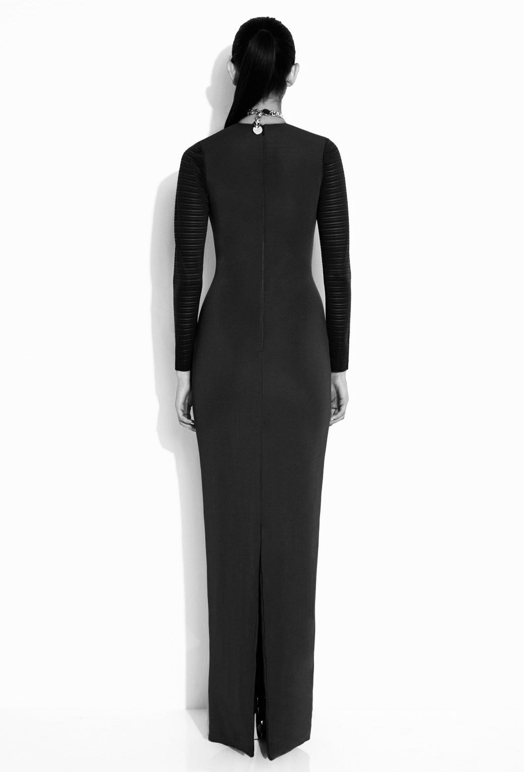 Black long sleeve formal wear with plunge
