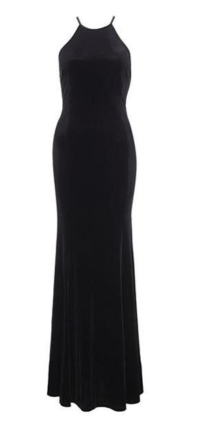 Black velvet maxi formal dress