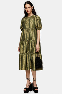 Taffeta Midi Dress Olive Green