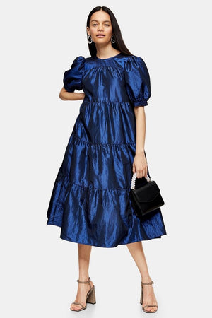 Taffeta Midi Dress Electric Blue