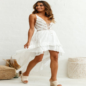 Farrah Lace-Up Dress White