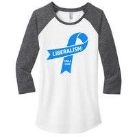 Liberalism (Find a Cure) - District Women's Fitted Very Important Tee 3/4-Sleeve Raglan