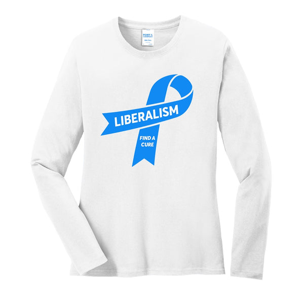 Liberalism (Find a Cure) - Port & Company Ladies Long Sleeve Core Cotton Tee