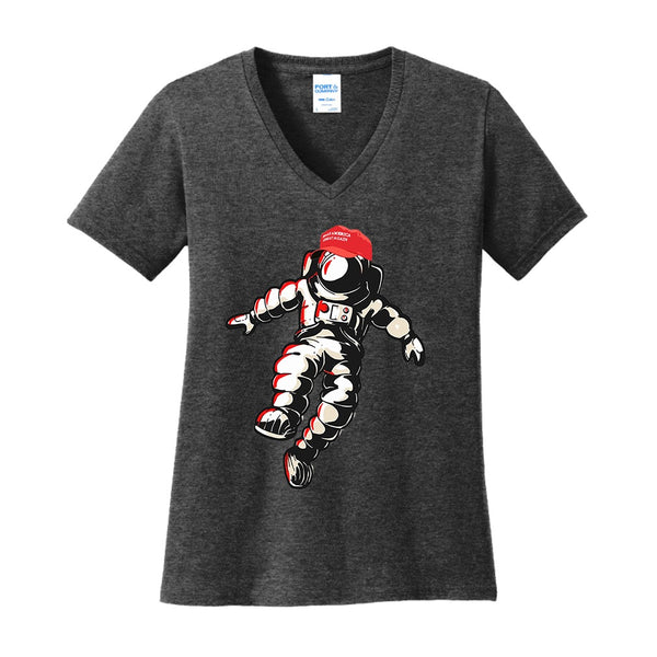 MAGA Moon Man - Port & Company Ladies Core Cotton V-Neck Tee