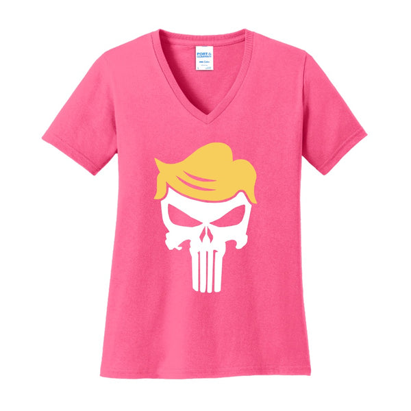 Trump Skull - Port & Company Ladies Core Cotton V-Neck Tee