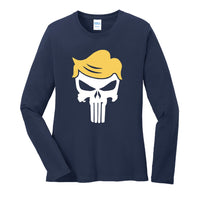 Trump Skull - Port & Company Ladies Long Sleeve Core Cotton Tee