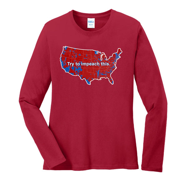 Impeach This - Port & Company Ladies Long Sleeve Core Cotton Tee