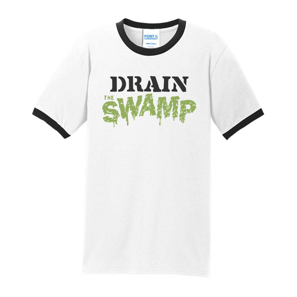 Drain the Swamp - Port & Company Core Cotton Ringer Tee