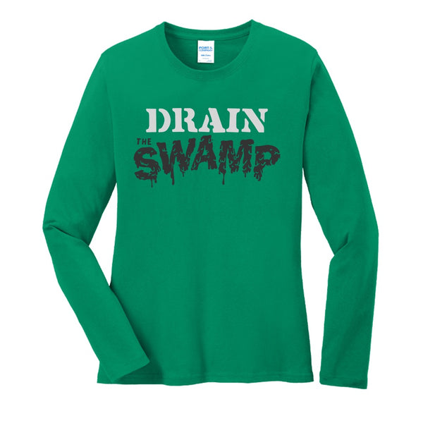 Drain the Swamp - Port & Company Ladies Long Sleeve Core Cotton Tee