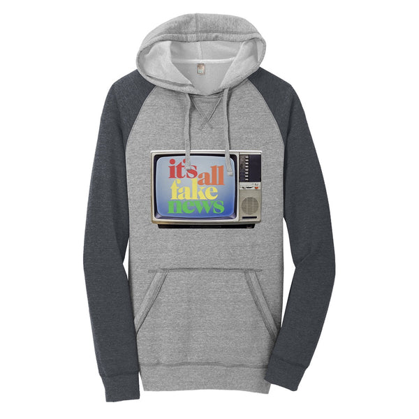 It's All Fake News - District Lightweight Fleece Raglan Hoodie
