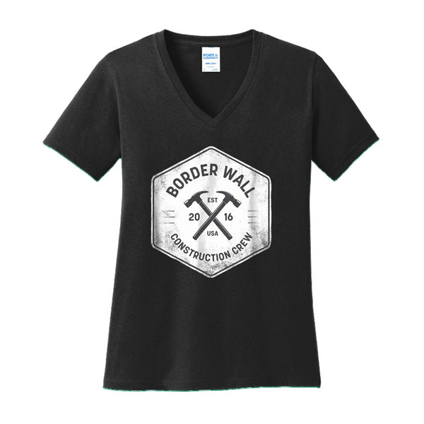 Border Wall Construction Co - Ladies Core Cotton V-Neck Tee
