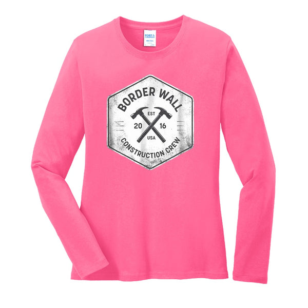 Border Wall Construction Co - Ladies Long Sleeve Core Cotton Tee
