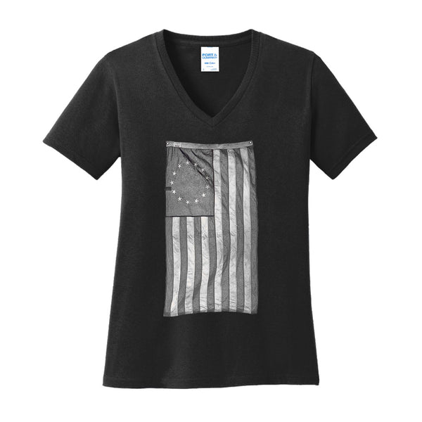 Old Glory - Ladies Core Cotton V-Neck Tee