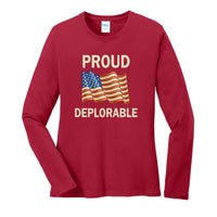Proud Deplorable - Ladies Long Sleeve Core Cotton Tee