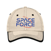 Space Force - Vintage Washed Contrast Stitch Unstructured Cap