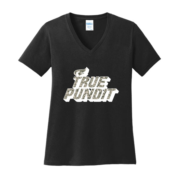 True Pundit Digi Camo - Ladies Core Cotton V-Neck Tee