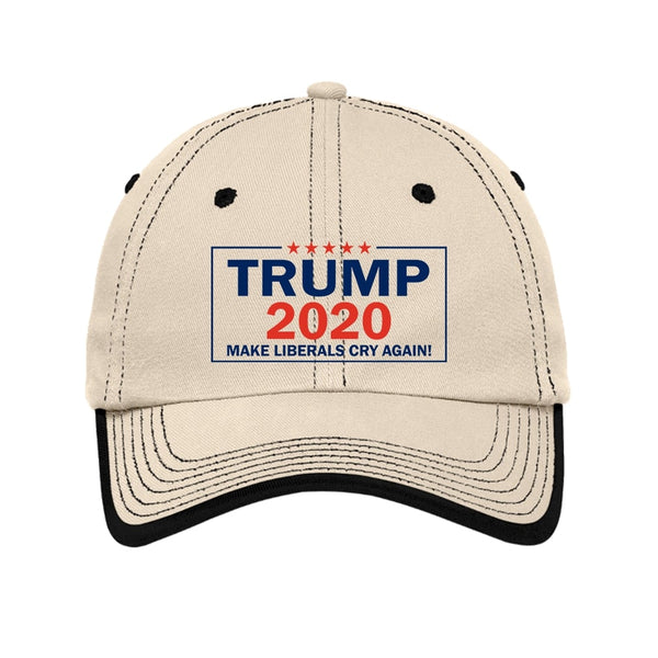 Trump 2020 - Vintage Washed Contrast Stitch Unstructured Cap