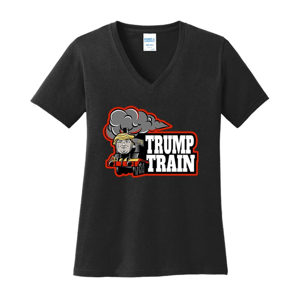 Trump Train - Ladies Core Cotton V-Neck Tee
