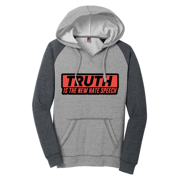 Truth Is The New Hate Speech - District Women's Lightweight Fleece Raglan Hoodie