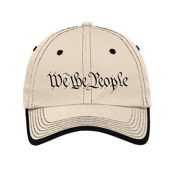 We The People - Vintage Washed Contrast Stitch Unstructured Cap