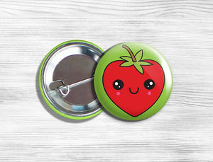 Kawaii Strawberry Vegan Vegetarian Fruit Pinback Button Pin 1.75""