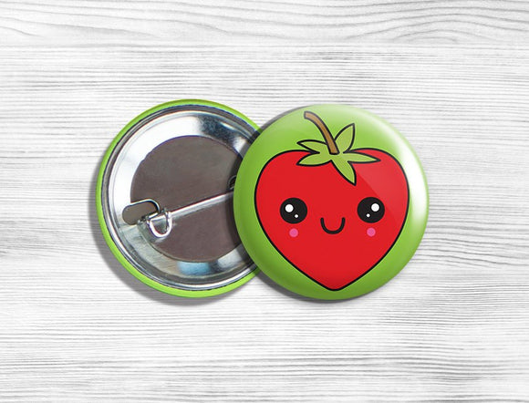 Kawaii Strawberry Vegan Vegetarian Fruit Pinback Button Pin 1.75