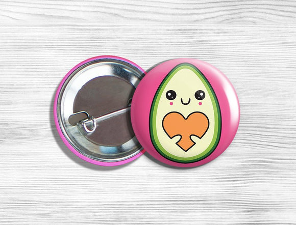 Kawaii Mrs. Avocado with Heart Baby Vegan/Vegetarian Pinback Button Pin 1.75