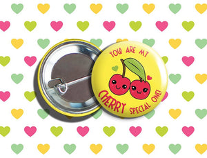 "Kawaii Cherries Valentine's Day Vegan/Vegetarian Pinback Button 1.75"" ""You Are My CHERRY Special One!"""