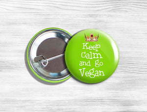 "Vegan Vegetarian ""Keep Calm And Go Vegan"" Pinback Button Pin 1.75"" Green"