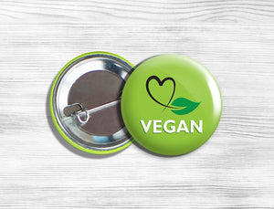 "Vegan Vegetarian ""Vegan"" Pinback Button Pin 1.75"" Green With Heart Leaf"