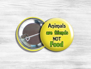"Vegan Vegetarian ""Animals Are Friends Not Food"" Pinback Button Pin 1.75"" Yellow"