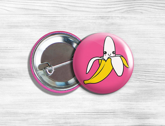 Kawaii Banana Vegetarian Vegan Pinback Button Pin 1.75
