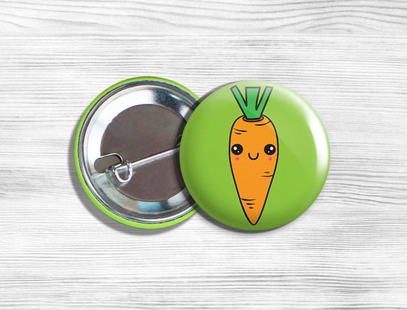 Kawaii Carrot Vegan Vegetarian Vegetable Pinback Button Pin 1.75