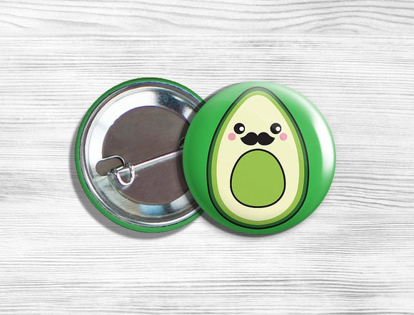 Kawaii Mr. Avocado Vegan/Vegetarian Pinback Button Pin 1.75