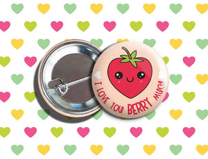 "Kawaii Strawberry Valentine's Day Vegan/Vegetarian Pinback Button 1.75"" ""I Love You BERRY Much!"""