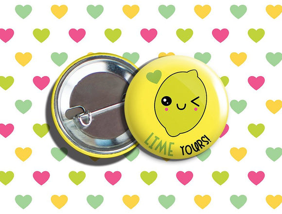 Kawaii Lime Valentine's Day Vegan/Vegetarian Pinback Button 1.75