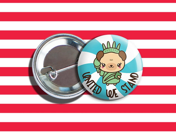 Kawaii Statue of Liberty Bear 4th of July Vegan Veggie Vegetarian Pinback Button 1.75