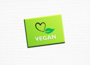 "Vegan Vegetarian Fridge Magnet ""Vegan"" Green Heart with Leaf 2.5x3.5"