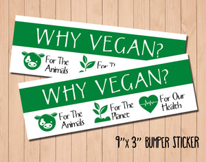 "Vegan Sticker ""Why Vegan?""  9"" x 3"" Bumper Sticker"