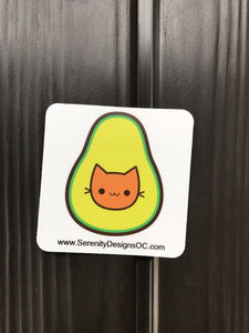 Kawaii Avocado Cat Vegetarian Vegan Sticker Bumper Sticker 3 x 3""