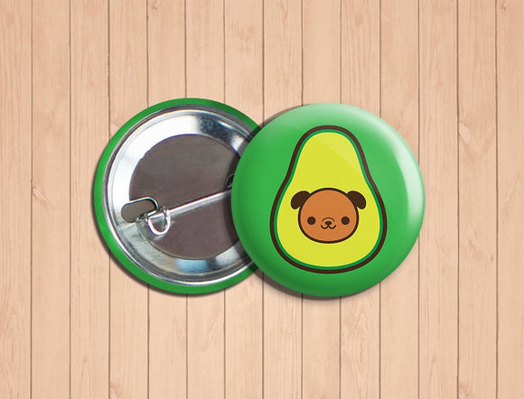 Kawaii DOGacado Vegan Vegetarian Dog Avocado Pinback Button Pin 1