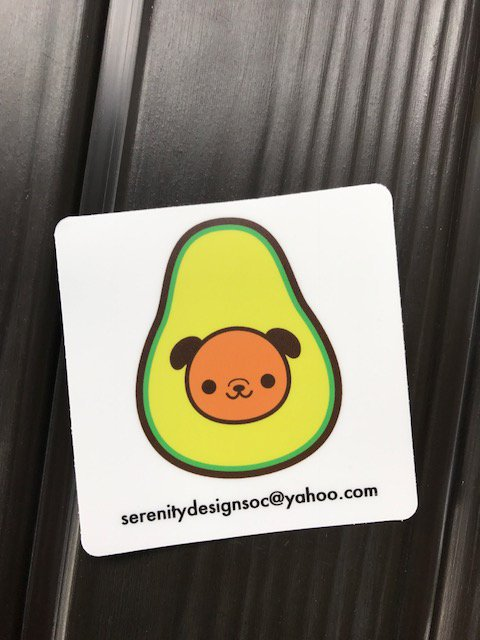 Kawaii Avocado Dog Vegetarian Vegan Sticker Bumper Sticker 3 x 3