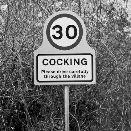 Cocking - Photographic Road Sign Greeting Card