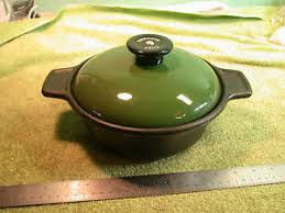 Cast Iron Pot with Green Lid